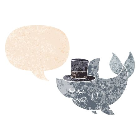 cartoon shark wearing top hat with speech bubble in grunge distressed retro textured style Ilustracja