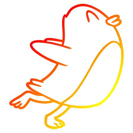 warm gradient line drawing of a penguin jumping Illustration