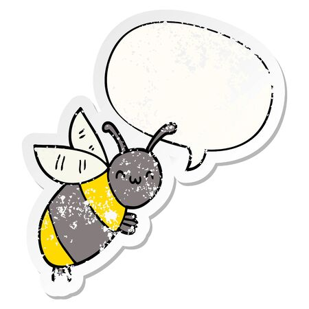 cute cartoon bee with speech bubble distressed distressed old sticker Ilustracja