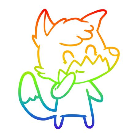 rainbow gradient line drawing of a cartoon friendly fox
