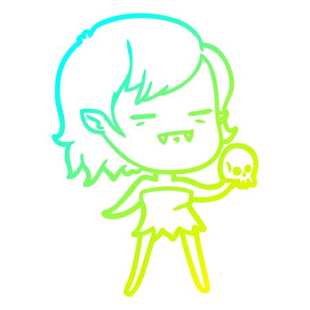 cold gradient line drawing of a cartoon undead vampire girl Ilustracja