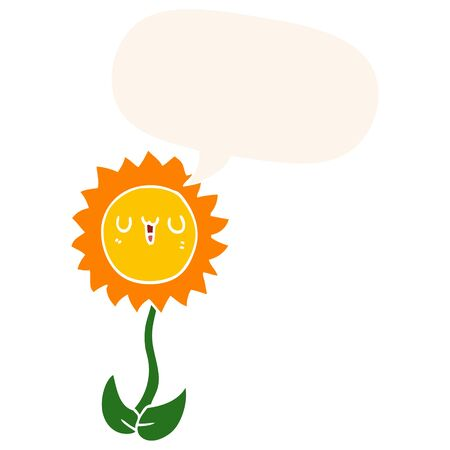 cartoon flower with speech bubble in retro style