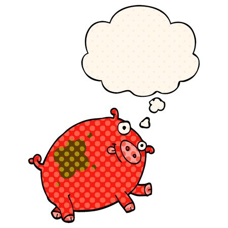 cartoon pig with thought bubble in comic book style