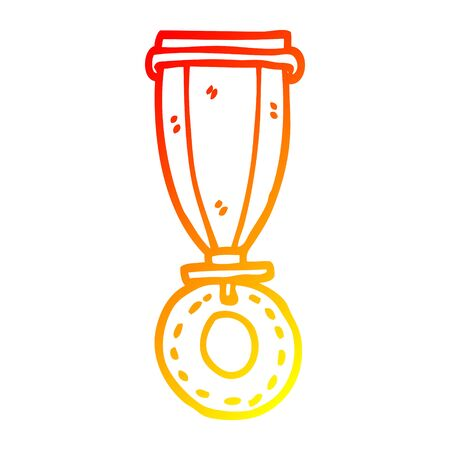 warm gradient line drawing of a cartoon medal