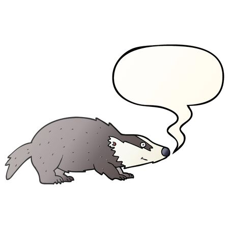 cartoon badger with speech bubble in smooth gradient style