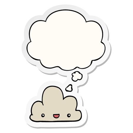 cartoon tiny happy cloud with thought bubble as a printed sticker Çizim