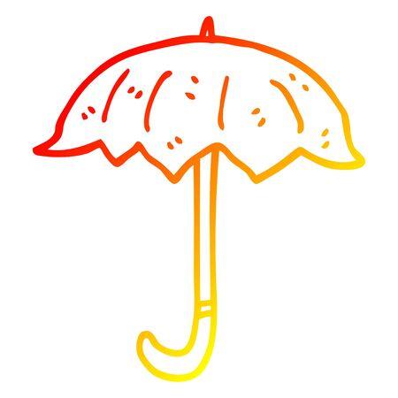 warm gradient line drawing of a cartoon open umbrella Illustration