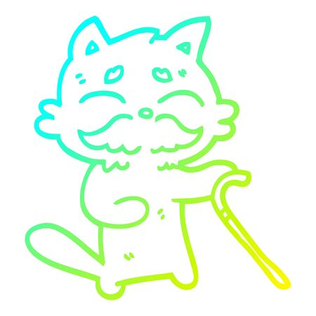 cold gradient line drawing of a cartoon old cat