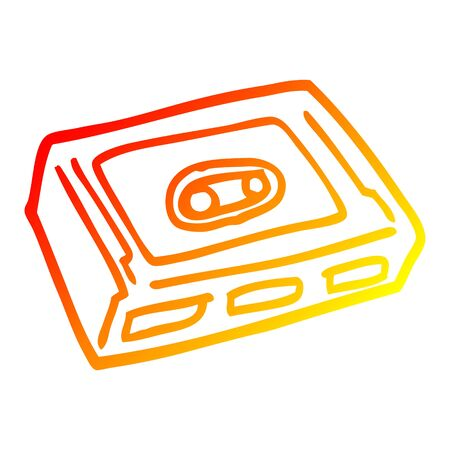 warm gradient line drawing of a cartoon cassette tape deck