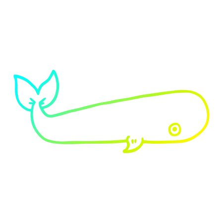 cold gradient line drawing of a cartoon sea whale Standard-Bild - 128707084