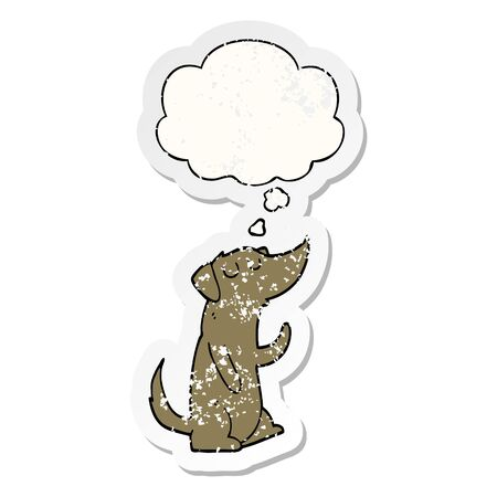 cartoon dog with thought bubble as a distressed worn sticker