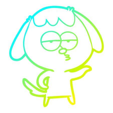 cold gradient line drawing of a cartoon bored dog Ilustração