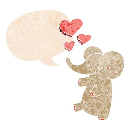 cartoon elephant with love hearts with speech bubble in grunge distressed retro textured style
