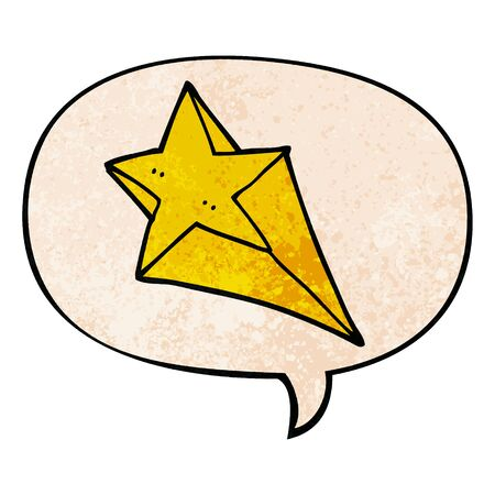 cartoon shooting star with speech bubble in retro texture style