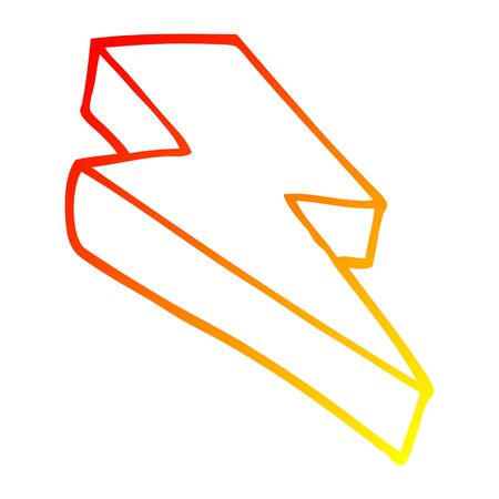 warm gradient line drawing of a cartoon thunder bolt 向量圖像
