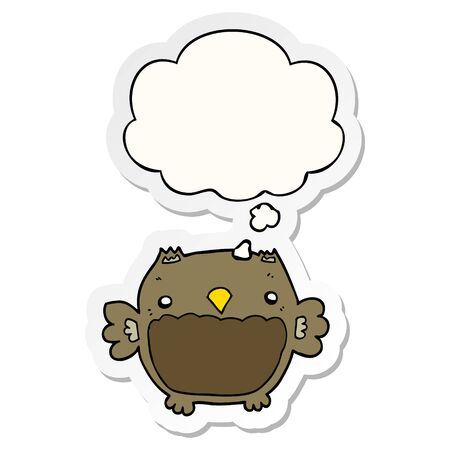 cartoon owl with thought bubble as a printed sticker Ilustracja