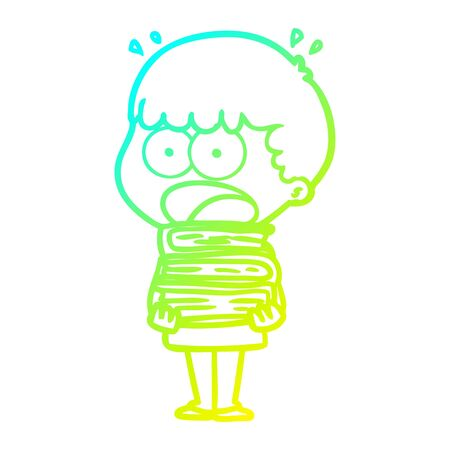 cold gradient line drawing of a cartoon shocked boy with stack of books