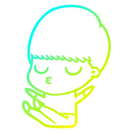 cold gradient line drawing of a cartoon calm boy Stock Illustratie