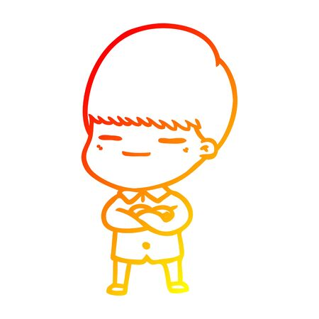 warm gradient line drawing of a cartoon smug boy Stock Illustratie