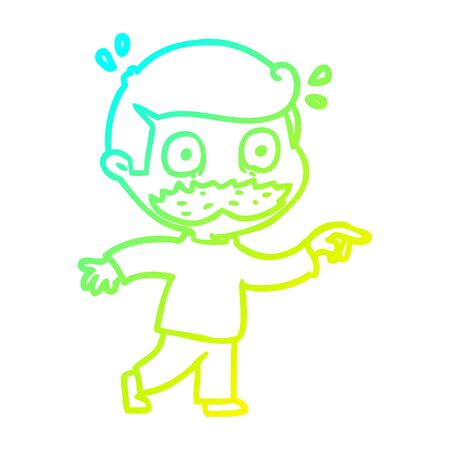 cold gradient line drawing of a cartoon man with mustache shocked