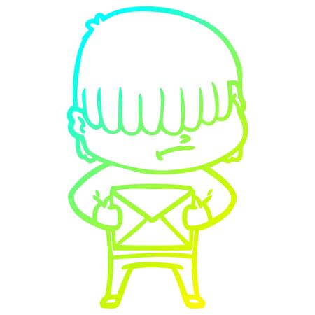 cold gradient line drawing of a cartoon boy with untidy hair Zdjęcie Seryjne - 128747990