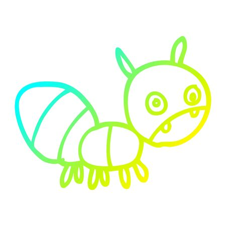 cold gradient line drawing of a cartoon anxious ant