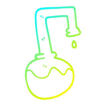 Dibujo de la línea de gradiente en frío de una caricatura de productos químicos burbujeantes Ilustración de vector