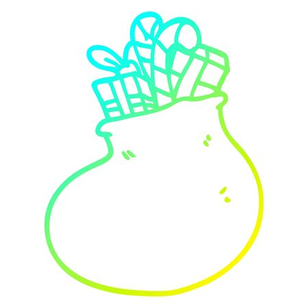 cold gradient line drawing of a cartoon bag of christmas presents