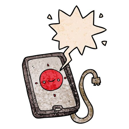 cartoon mobile phone device with speech bubble in retro texture style Illustration