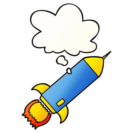 Cartoon-Rakete mit Gedankenblase im glatten Verlaufsstil