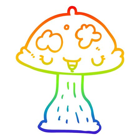 rainbow gradient line drawing of a cartoon toadstool 向量圖像