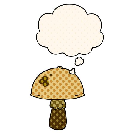 cartoon mushroom with thought bubble in comic book style