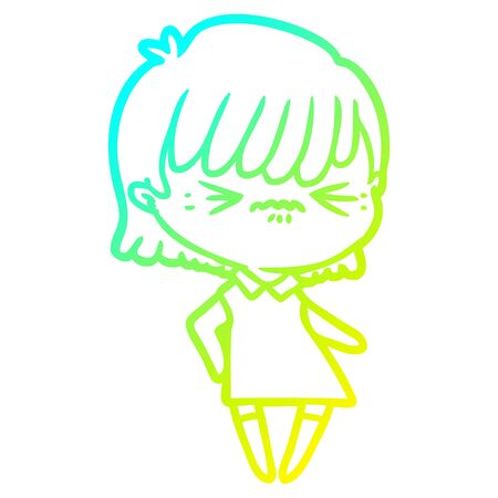 cold gradient line drawing of a annoyed cartoon girl