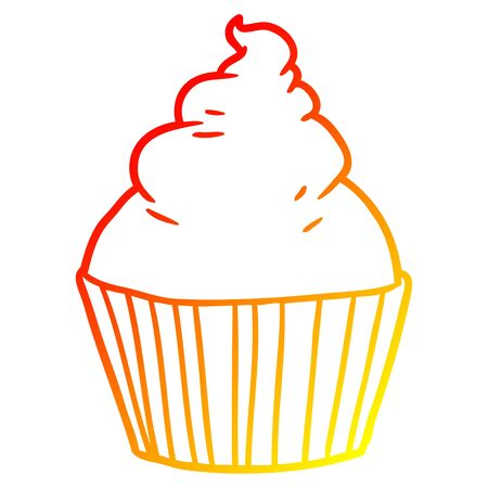 warm gradient line drawing of a cartoon cup cake Иллюстрация