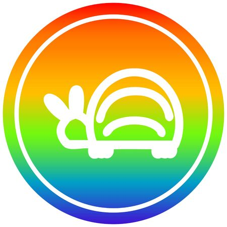 cute beetle circular icon with rainbow gradient finish Ilustracja