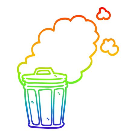 rainbow gradient line drawing of a cartoon stinky garbage can