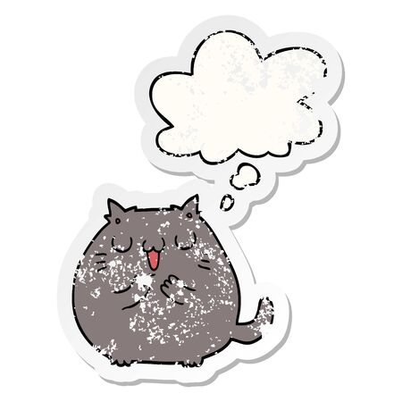 happy cartoon cat with thought bubble as a distressed worn sticker