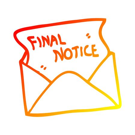 warm gradient line drawing of a cartoon final notice letter