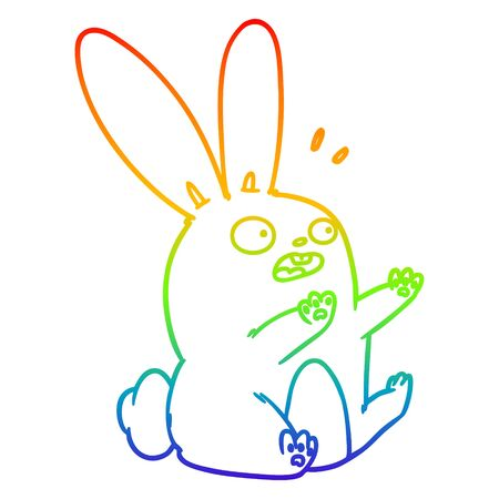 rainbow gradient line drawing of a cartoon startled rabbit