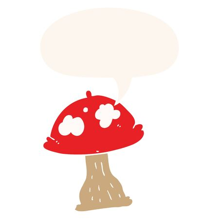 cartoon mushroom with speech bubble in retro style