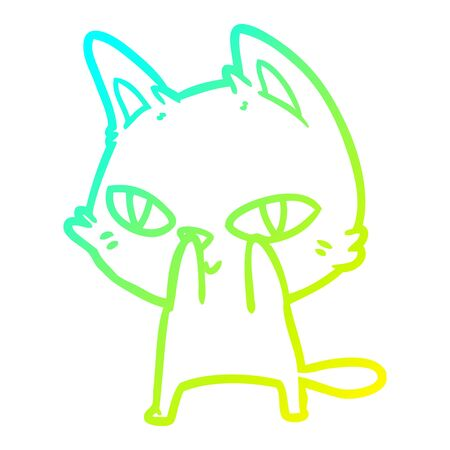 cold gradient line drawing of a cartoon cat staring Ilustracja