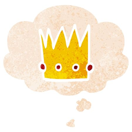 cartoon crown with thought bubble in grunge distressed retro textured style Ilustracja