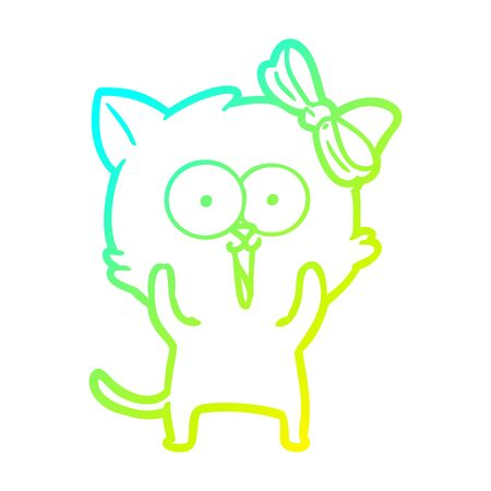 cold gradient line drawing of a cartoon cat Ilustracja