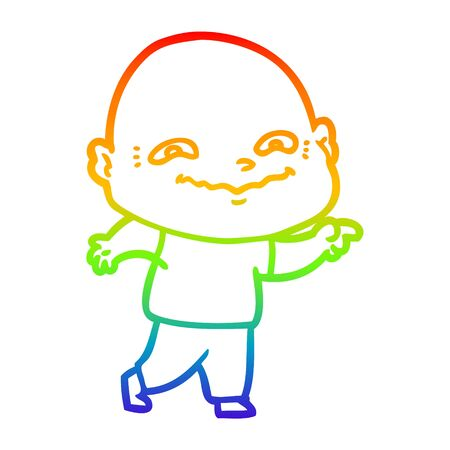 rainbow gradient line drawing of a cartoon creepy guy Ilustracja