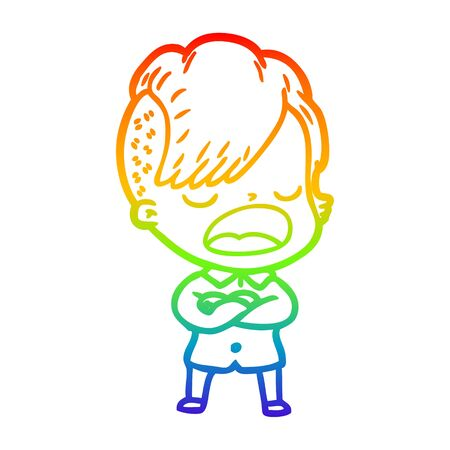 rainbow gradient line drawing of a cartoon cool hipster girl talking Ilustracja
