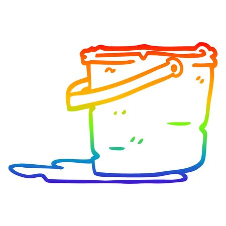 rainbow gradient line drawing of a cartoon bucket
