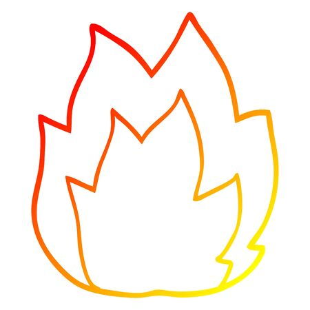 warm gradient line drawing of a cartoon fire explosion