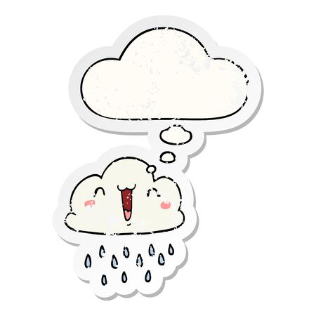 cartoon storm cloud with thought bubble as a distressed worn sticker