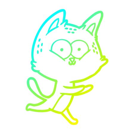 cold gradient line drawing of a cartoon cat running