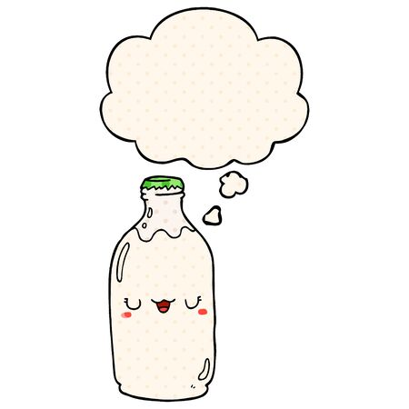 cute cartoon milk bottle with thought bubble in comic book style